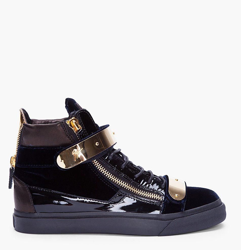 Wholesale Giuseppe Zanotti Sneakers - Posts Wish List Giuseppe Zanotti Gold Detailing High Tops Attachment Giuseppe Zanotti Navy Velvet Gold Sneakers High Tops Side