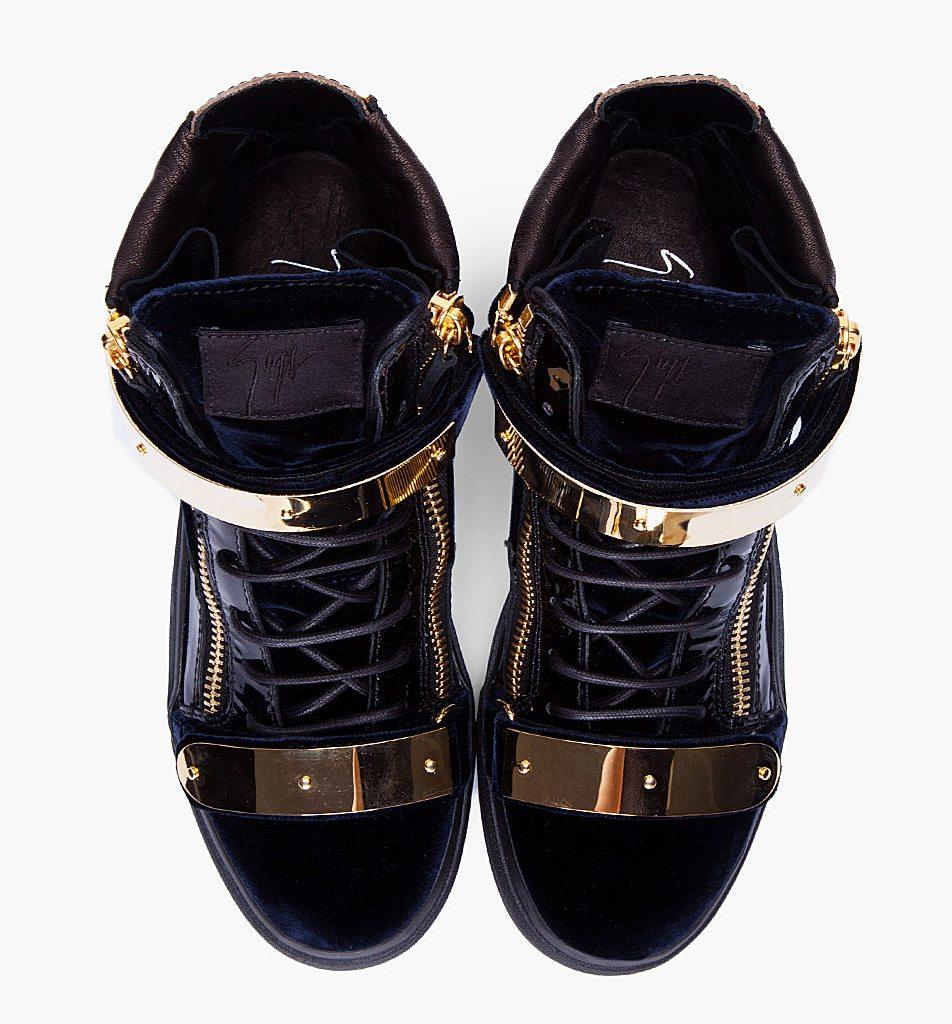 Promo Code For Giuseppe Zanotti Sneakers - Posts Wish List Giuseppe Zanotti Gold Detailing High Tops Attachment Giuseppe Zanotti Navy Velvet Gold Sneakers High Tops Top View