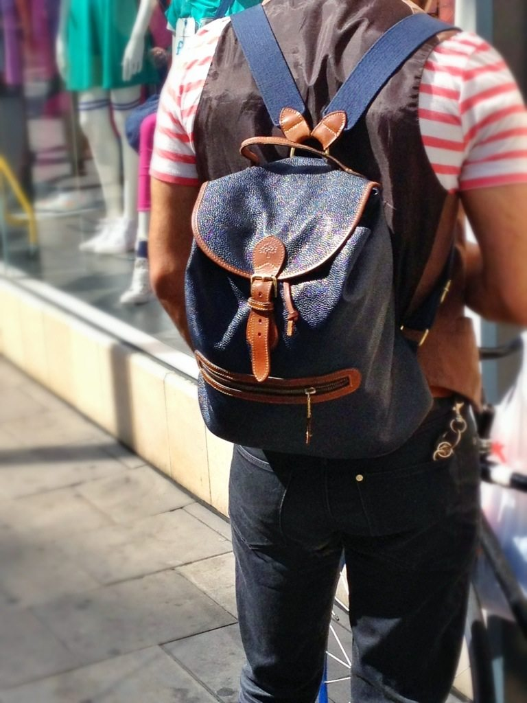 Mulberry Scotchgrain Leather Backpack | Navy and Brown