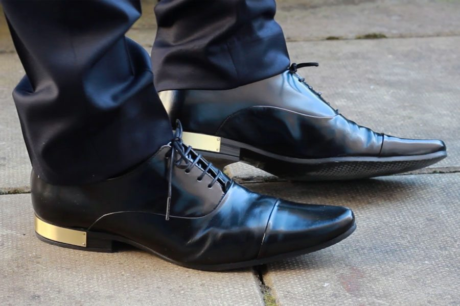 Wedding-Formal-Wear-Robin-James-The-Utter-Gutter-Black-Leather-Oxford-Shoes-Gold-Heel