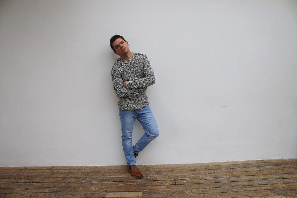 James-Dean-Hair-Style-Grey-Jumper-Casual-50s