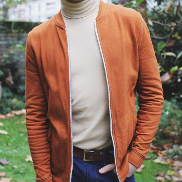 beige-roll-neck-orange-bomber-Robin-James-Man-For-Himself
