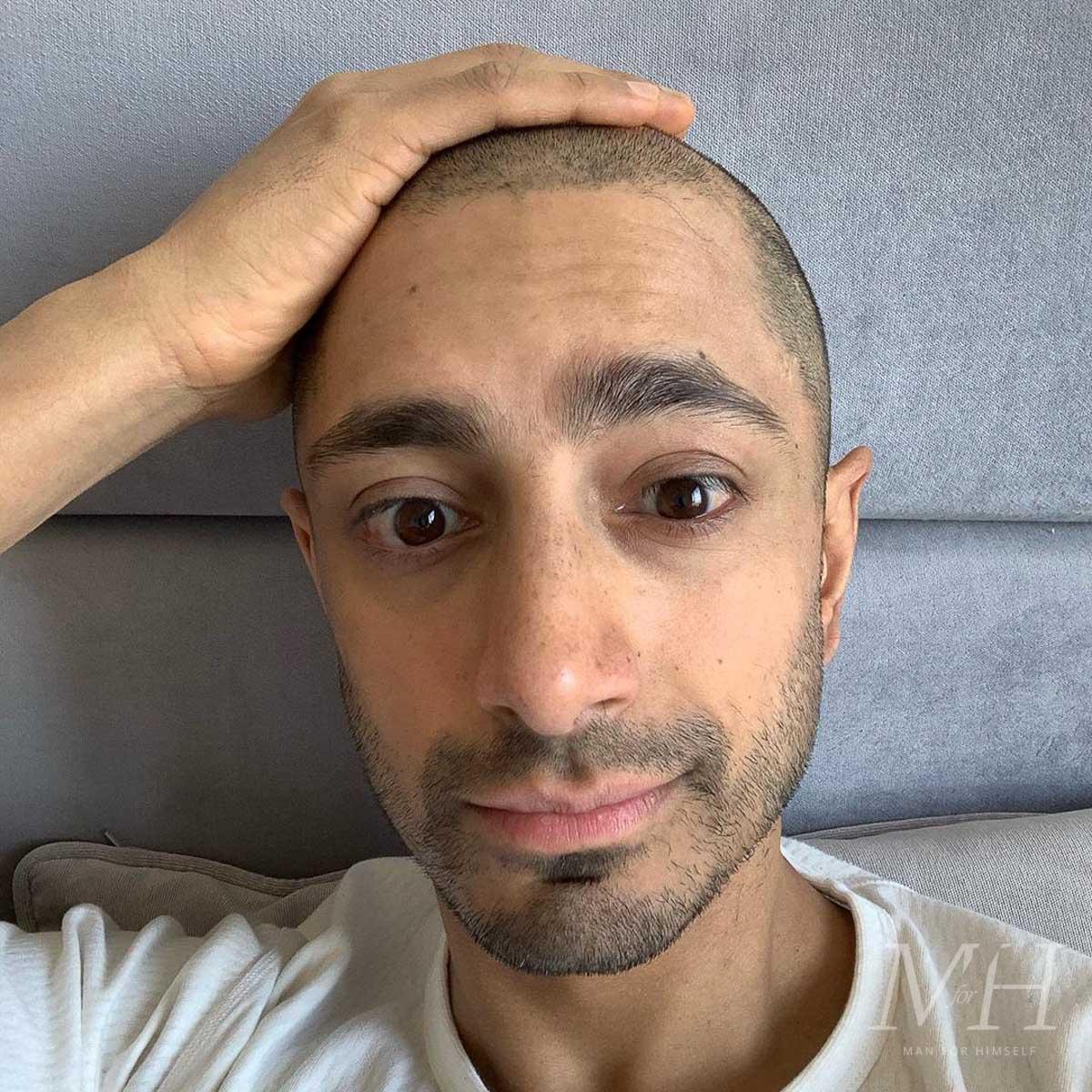 riz-ahmed-hair-shaved-head-lockdown-2020-buzzcut-man-for-himself