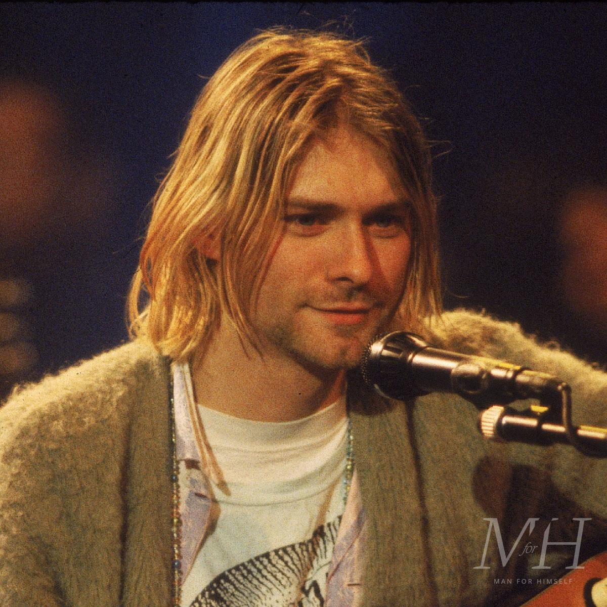 kurt cobain 90s long hair centre parting