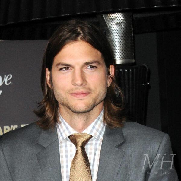 Ashton Kutcher: Long Layered Hairstyle With Irregular Parting