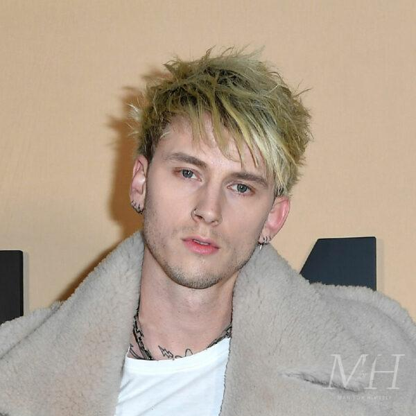 Machine Gun Kelly: Bleached Blonde Sweeping Fringe Hairstyle